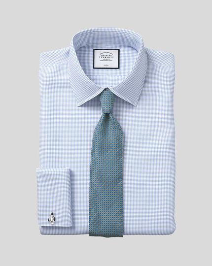 Classic fit non-iron twill mini grid check sky blue shirt