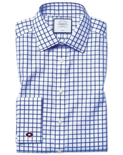 Classic fit non-iron twill grid check royal blue shirt