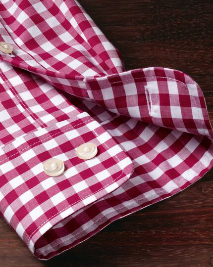 Extra slim fit non-iron poplin red check shirt