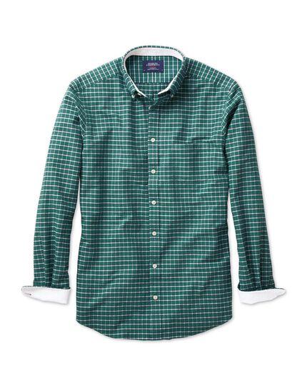 Slim fit green melange check washed Oxford shirt