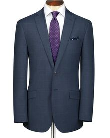 Airforce blue slim fit windowpane sharkskin business suit jacket
