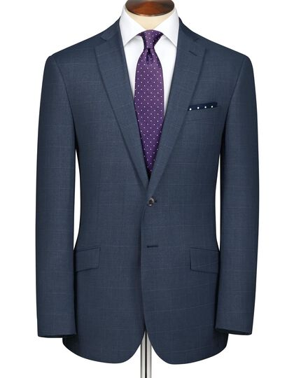 Airforce blue slim fit sharkskin business suit jacket