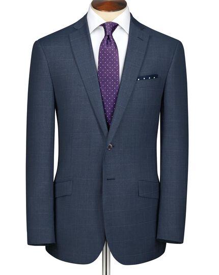 Airforce blue slim fit windowpane sharkskin business suit jacket