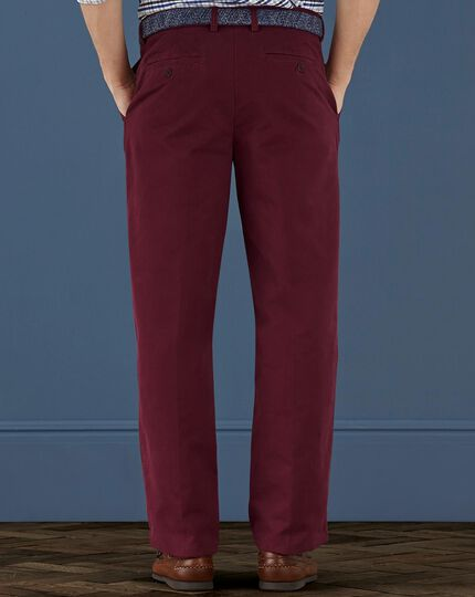 Red classisc fit single pleat weekend chinos