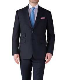 Navy blue slim fit basketweave business suit pants