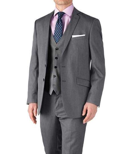Classic Fit Businessanzug Sakko aus Twill in Silbergrau