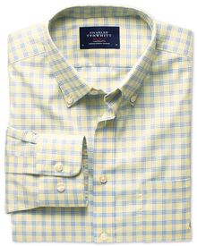 Slim fit yellow and sky check non-iron poplin shirt