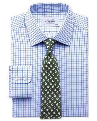 Classic fit twill grid check sky blue shirt