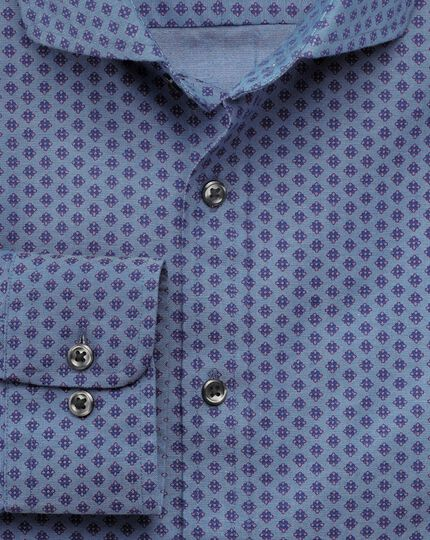 Slim fit chambray geometric print shirt