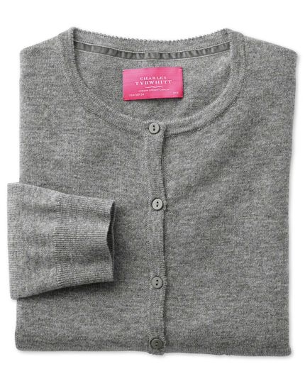 Light grey merino cashmere cardigan