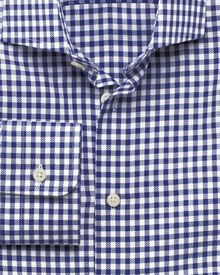 Slim fit semi-spread collar business casual dobby check navy shirt