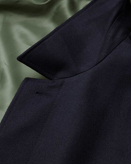 Navy herringbone wool car coat