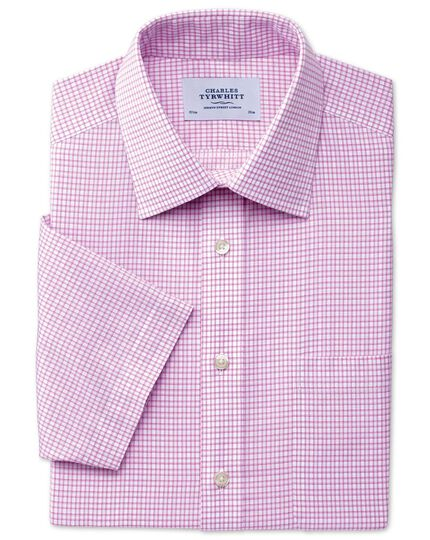 Slim fit non-iron short sleeve dobby check pink shirt