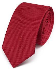 Red silk classic plain slim tie