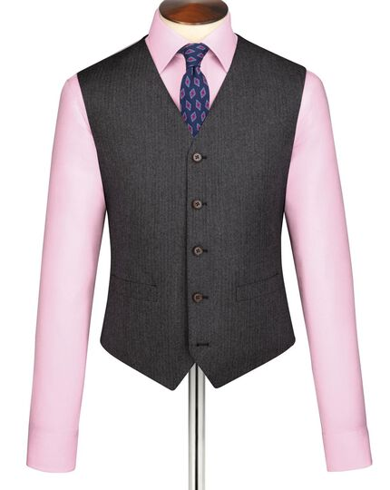 Grey herringbone vest