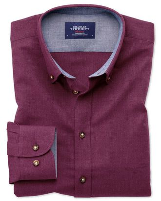 Classic fit button-down soft cotton berry shirt