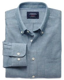 Classic fit chambray petrol blue shirt