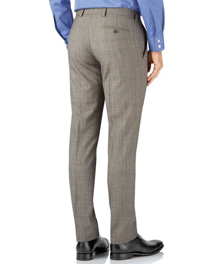 Slim Fit Panama-Businessanzug Hose in Grau mit Prince-of-Wales-Karos