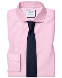 Bügelfreies Extra Slim Fit Twill-Hemd mit Haifischkragen in Rosa