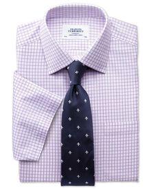 Slim fit non-iron short sleeve lilac shirt
