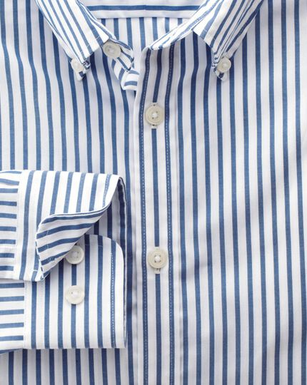 Extra slim fit non-iron poplin blue stripe shirt