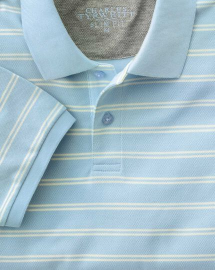 Slim fit sky and white dual striped pique polo