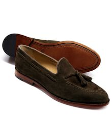 Olive Yardley suede apron tassel loafers