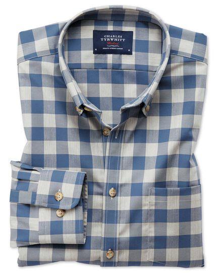 Bügelfreies Classic Fit Twill-Hemd in Blau und Grau mit Karos