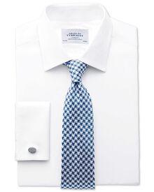Classic fit herringbone white shirt
