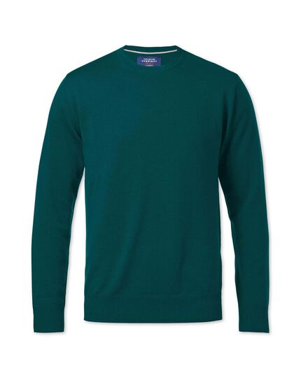 Pine green merino wool crew neck jumper