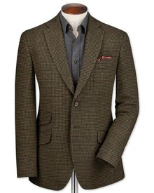 Slim fit olive check luxury border tweed jacket