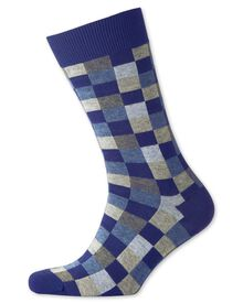 Blue checked socks