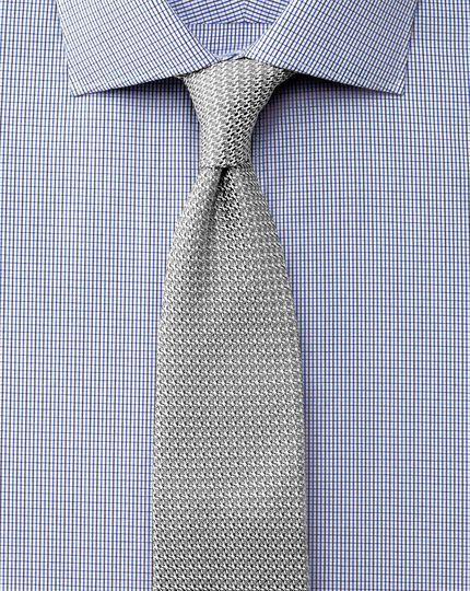 Slim fit semi-spread collar luxury poplin navy and blue shirt