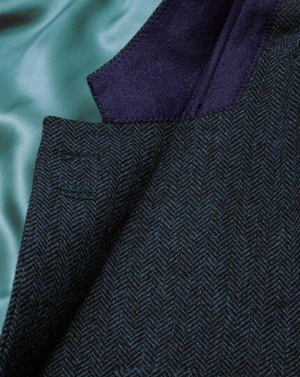 Classic fit blue tweed jacket