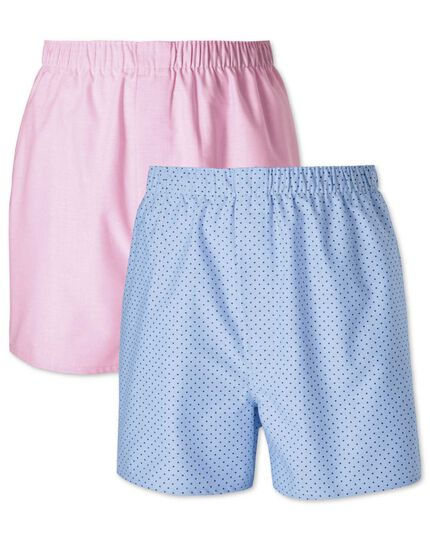 Pink and sky dot 2 pack boxers