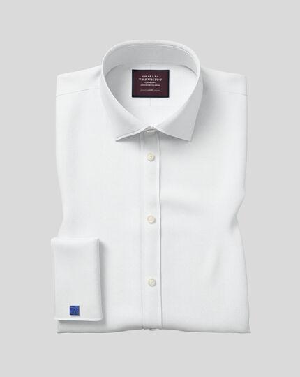 Extra slim fit semi-spread collar luxury twill white shirt