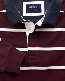 Wine and white stripe long sleeve rugby shirt