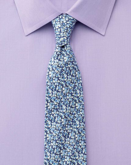 Slim fit end-on-end lilac shirt