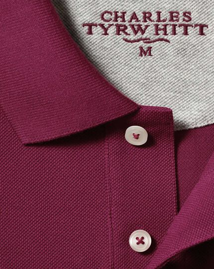 Wine long sleeve pique polo