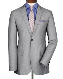Silver grey slim fit Oxford unstructured jacket