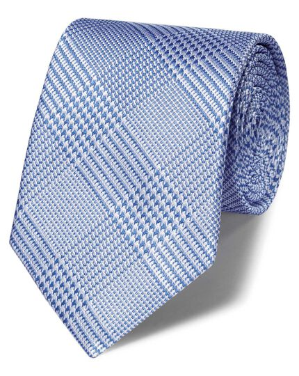 Blue silk classic Prince of Wales check tie