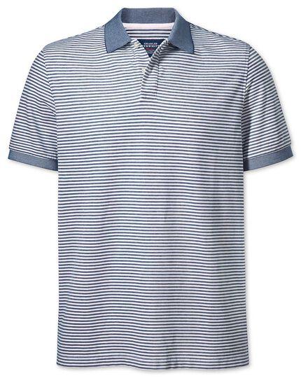 Navy and white stripe Oxford polo