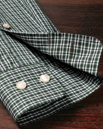 Classic fit non-iron poplin green and blue check shirt