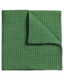 Green linen spot classic pocket square