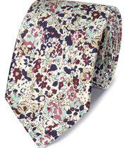 Multi silk printed floral classic tie