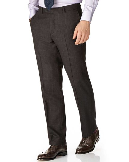 Dark grey classic fit saxony business suit trousers