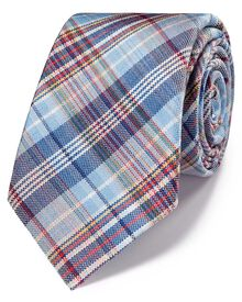 Blue multi linen luxury Italian Madras tie