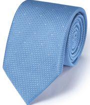 Cravate classique bleu ciel en soie texturée à tirets