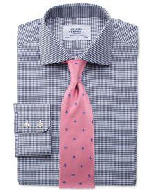 Slim fit semi-spread collar melange puppytooth indigo shirt