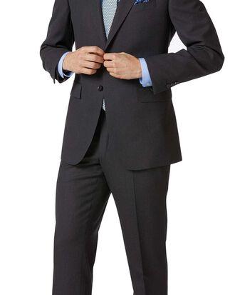 Charcoal classic fit birdseye travel suit